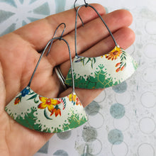 Load image into Gallery viewer, Flowers in White & Green Wide Arc Zero Waste Earrings