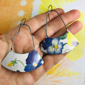Purple & Yellow Violets Wide Arc Zero Waste Earrings