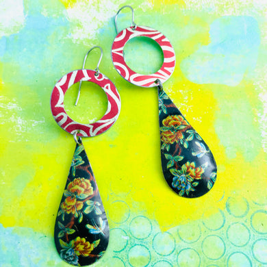 Flowered Long Teardrop Red Ring Tin Earrings