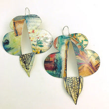 Load image into Gallery viewer, Mixed Greens Abstract Butterflies Upcycled Tin Earrings