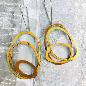 Mixed Oranges Scribbles Upcycled Tin Earrings