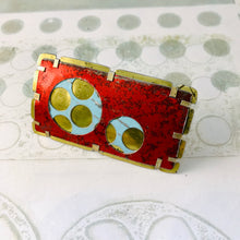 Load image into Gallery viewer, Weathered Red Over Icy Blue Encircled Upcycled Tin Brooch