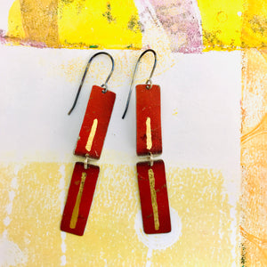 Deep Rich Red & Gold Leaf Recycled Tin Earrings