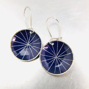 Silver Starburst On Purple Tiny Dot Zero Waste Tin Earrings