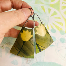 Load image into Gallery viewer, Big Pale Yellow Flowers Upcycled Tin Long Fans Earrings