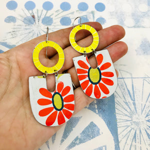Big Red Daisy Chunky Horseshoes Zero Waste Tin Earrings