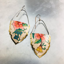 Load image into Gallery viewer, Vintage Flowers on White Fancy Shape Recycled Tin Earrings