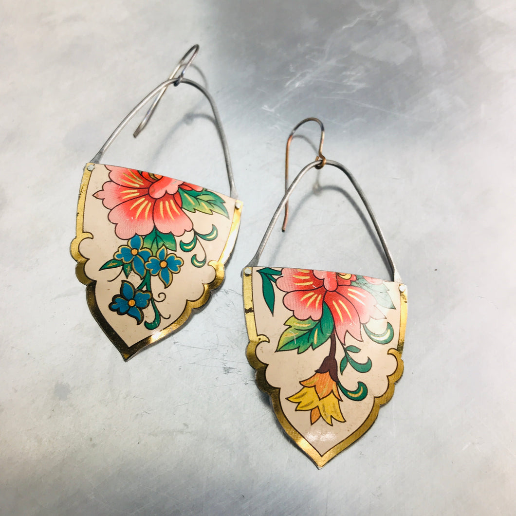 Vintage Flowers on White Fancy Shape Recycled Tin Earrings