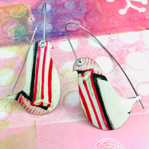 Candy Striped Birds on a Wire Upcycled Tin Earrings