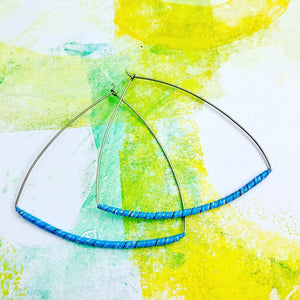 Blue Spiraled Tin Triangle Hoop Earrings
