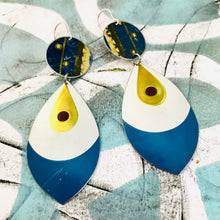 Load image into Gallery viewer, Golden Teardrop on Snow Upcycled Long Pod Tin Earrings