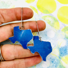 Load image into Gallery viewer, Texas Blue Upcycled Tin Earrings