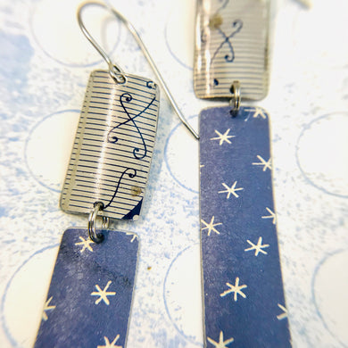Slate Blue Asterisks Recycled Tin Earrings