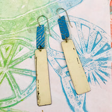 Load image into Gallery viewer, True Blue and Cream Recycled Tin Earrings