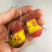 Load image into Gallery viewer, Shimmery Gold & Carmine Birds on a Wire Upcycled Tin Earrings