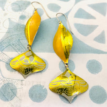 Load image into Gallery viewer, Orange and Gold Rex Ray Zero Waste Tin Earrings