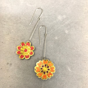 Red & Orange Vintage Stylized Flowers Recycled Tin Earrings