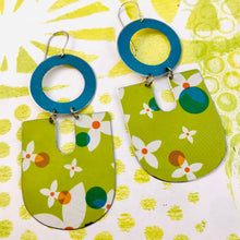 Load image into Gallery viewer, White Flowers on Spring Green Chunky Horseshoes Zero Waste Tin Earrings
