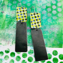 Load image into Gallery viewer, Green Halftone Pattern & Midnight Recycled Tin Earrings