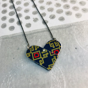 Red & Gold on Midnight Blue Tin Heart Recycled Necklace