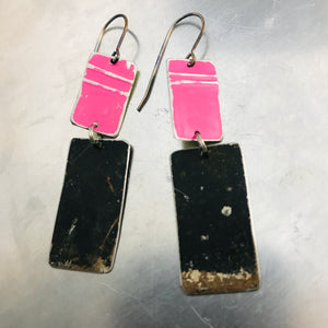 Rustic Matte Hot Pink & Midnight Zero Waste Tin Earrings