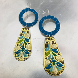 Loopy Vintage Arts and Craft Style Zero Waste Tin Earrings Ethical Jewelry