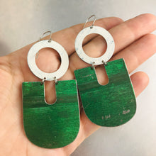 Load image into Gallery viewer, Antiqued Paris Green Chunky Horseshoes Zero Waste Tin Earrings