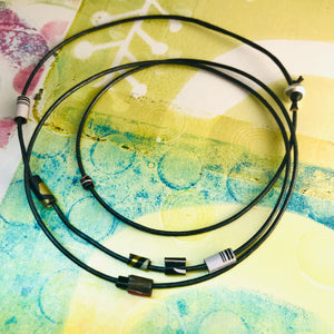 Graphite Tiny Tin Beaded Leather Cord Necklace or Bracelet