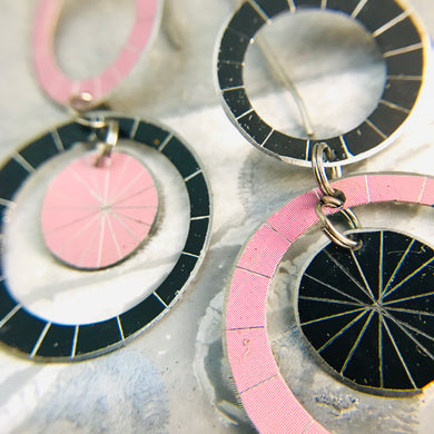Black & Pale Pink Silver Starburst Multi Circles Upcycled Tin Earrings