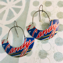 Load image into Gallery viewer, Candy Script Half Moon Recycled Tin Earrings