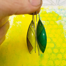 Load image into Gallery viewer, Cool Stripes Long Pods Upcycled Tin Leaf Earrings