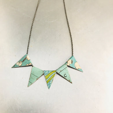 Vintage Aqua Pennants Boho Upcycled Tin Necklace
