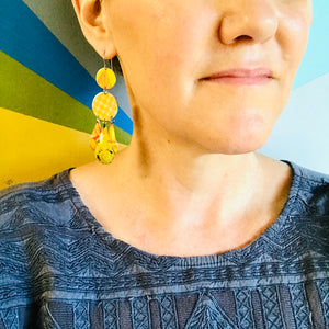 Dots & Fruits & Leaves Zero Waste Tin Chandelier Earrings