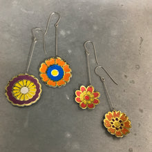 Load image into Gallery viewer, Red & Orange Vintage Stylized Flowers Recycled Tin Earrings