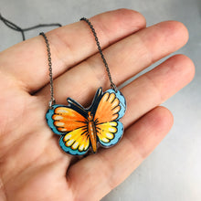 Load image into Gallery viewer, Little Orange & Blue Butterfly Upcycled Tin Necklace Tin Anniversary Gift