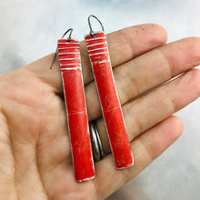 Load image into Gallery viewer, Rustic Matte Red Zero Waste Tin Earrings