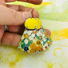 Load image into Gallery viewer, All over Flowers and Butter Ovals Small Fans Zero Waste Tin Earrings