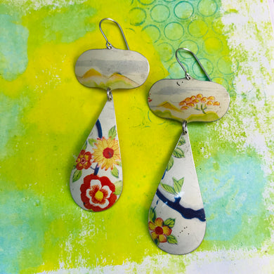 Vintage Flowers Long Teardrops Zero Waste Tin Earrings