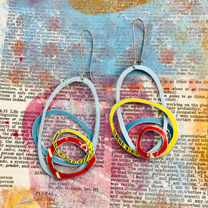 Primary Scribbles Upcycled Tin Earrings