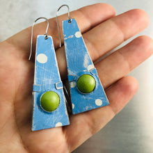Load image into Gallery viewer, Sky Blue & Spring Green Domes Zero Waste Tin Earrings