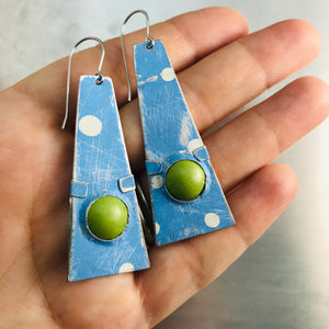Sky Blue & Spring Green Domes Zero Waste Tin Earrings