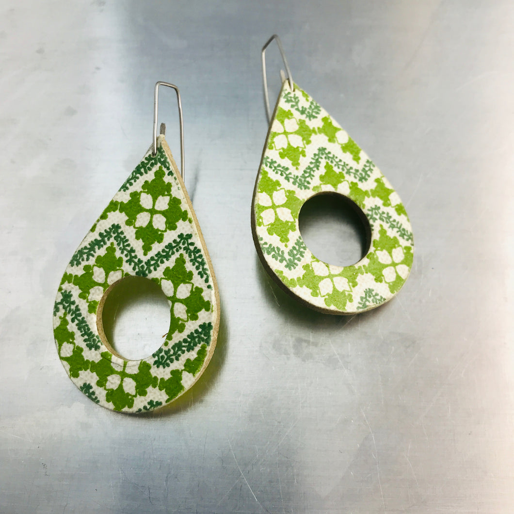 Green Pattern Teardrops Recycled Book Cover Earrings