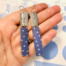 Load image into Gallery viewer, Slate Blue Asterisks Recycled Tin Earrings