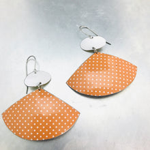 Load image into Gallery viewer, Tiny White Polka Dots on Fawn Upcycled Tin Fan Post Earrings