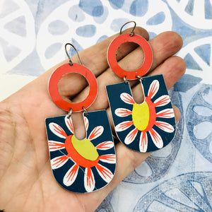 Big Daisy in Blue Chunky Horseshoes Zero Waste Tin Earrings