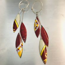 Load image into Gallery viewer, Falling Leaves in Mixed Reds Upcycled Tin Earrings