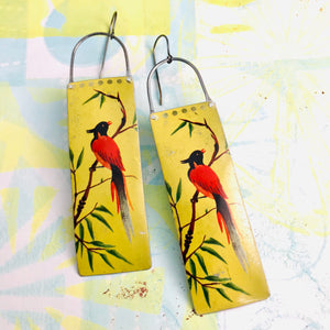 Vintage Red Song Birds Long Narrow Tin Earrings