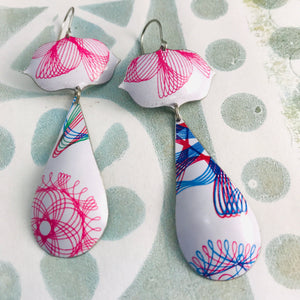 Spirograph Long Teardrops Zero Waste Tin Earrings