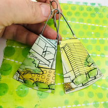 Load image into Gallery viewer, Modernist Architectural Renderings Upcycled Tin Long Fans Earrings