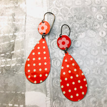 Load image into Gallery viewer, Orange Polka Dots Upcycled Teardrop Tin Earrings